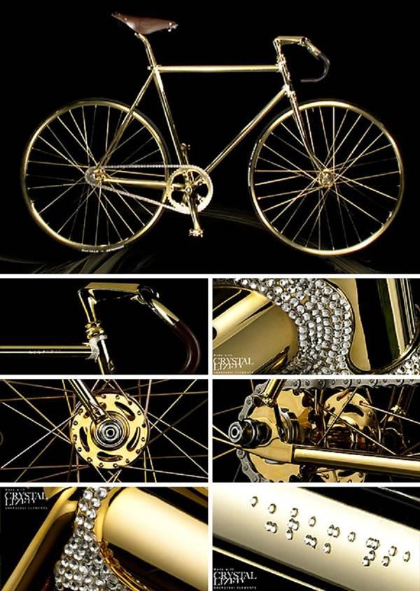 A bicicleta de ouro e cristais svarovski custa cerca de 100 mil reais