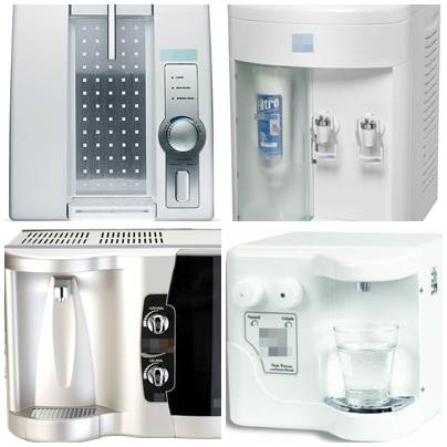 Alguns modelos de purificadores de água existentes no mercado