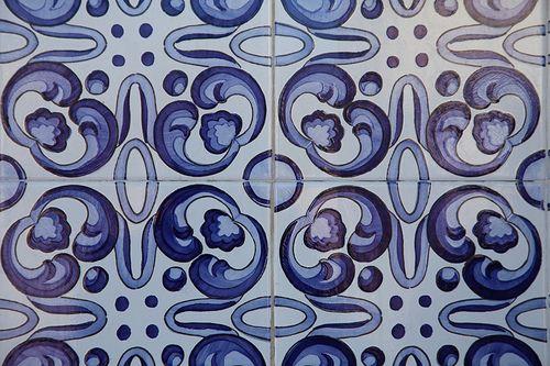 Foto dos detalhes de um azulejo