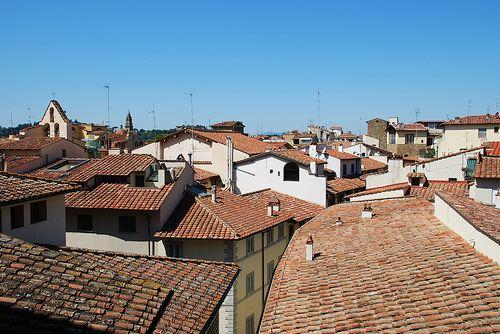 Detalhe de vários telhados na cidade de Florença.