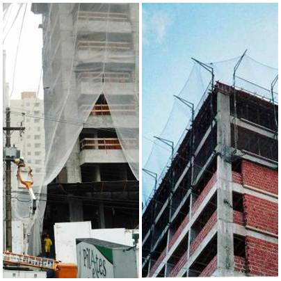 As telas de proteção para construção podem ser instaladas em toda a extesão do prédio ou somente no andar de obras