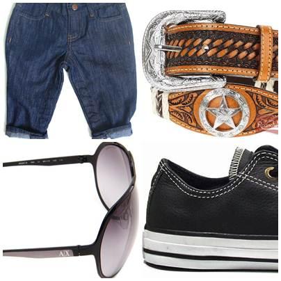 As bermudas masculinas usadas por mulheres passa a ser chamada de bermudas 'boyfriend', cintos, óculos e tênis também são usados por ambos os sexos