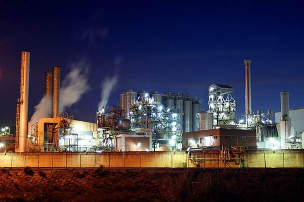 Vista de uma fábrica química