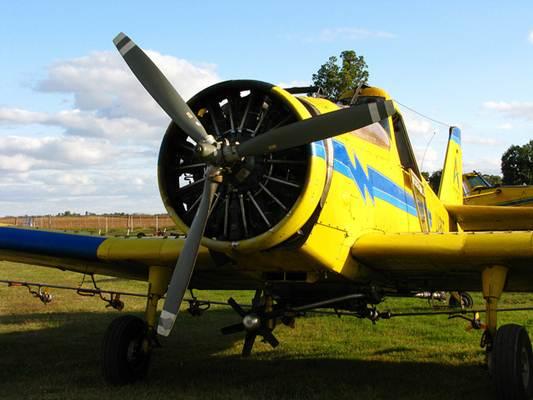 Avião usado para eliminar pragas no modo polvilhamento