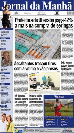 capa jornal manhã