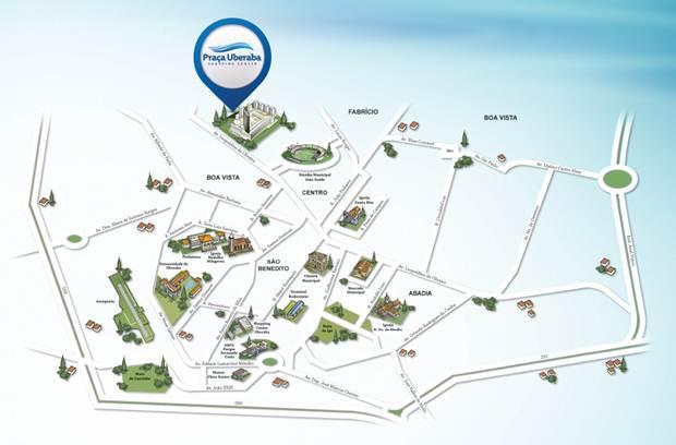 Vista aérea do Praça Uberaba Shopping