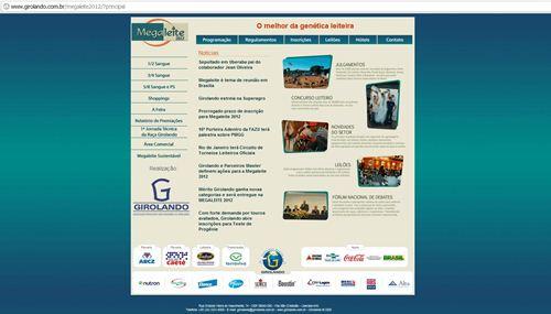 Site Grupo Girolando sobre MegaLeite Uberaba 2012