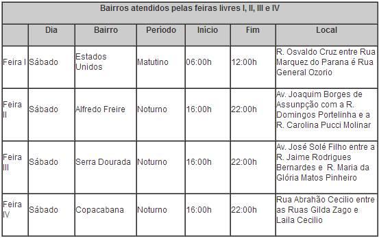 Calendário 3 das feiras livres em Uberaba